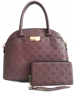 Embossed Monogram 2in1 Satchel  Bag  CE2749 BROWN
