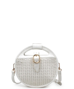 Urban Expressions Cece Woven Vegan Crossbody Bag WHITE