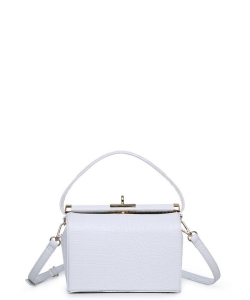 Urban Expressions Cecile Croc Vegan Crossbody Bag WHITE