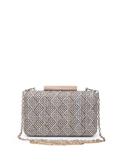 Urban Expressions Cicley Woven Box Clutch Bag BLACK
