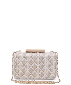 Urban Expressions Cicley Woven Box Clutch Bag NATURAL