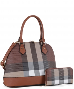 Fashion Faux Checkered 2in1 Satchel Bag CK19629 BROWN