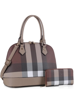 Fashion Faux Checkered 2in1 Satchel Bag CK19629 TAUPE