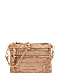 Crocodile Print Multi Pocket Versatile Wristlet Cross Body CL001 STONE