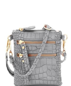 Crocodile Print Multi Pocket Small Wristlet Cross Body CL002 GRAY