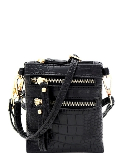 Crocodile Print Multi Pocket Small Wristlet Cross Body CL002 BLACK