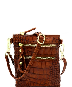 Crocodile Print Multi Pocket Small Wristlet Cross Body CL002 COFFEE
