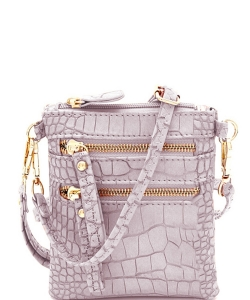 Crocodile Print Multi Pocket Small Wristlet Cross Body CL002 LAVENDER