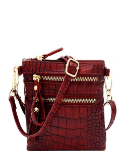 Crocodile Print Multi Pocket Small Wristlet Cross Body CL002 RED