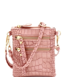 Crocodile Print Multi Pocket Small Wristlet Cross Body CL002 ROSEPINK