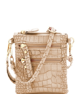 Crocodile Print Multi Pocket Small Wristlet Cross Body CL002 STONE