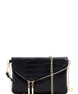 Crocodile Print Asymmetrical Flap Clutch Shoulder Bag CL023 BLACK