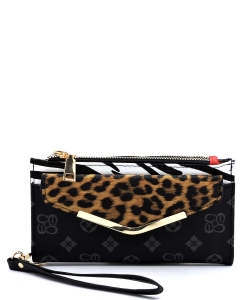 Leopard Zebra Monogram Colorblock Bifold Envelope Wallet Wristlet CL042 BLACK