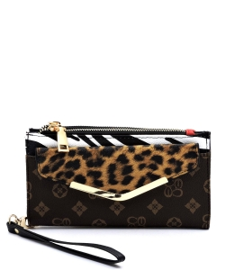 Leopard Zebra Monogram Colorblock Bifold Envelope Wallet Wristlet CL042 BROWN