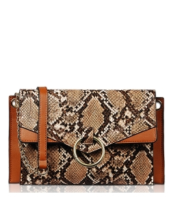 Flap Over Animal Print Center Ring Clutch CL1737 BROWN