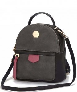 David Jones Faux Leather Mini Backpack CM3539 BLACK