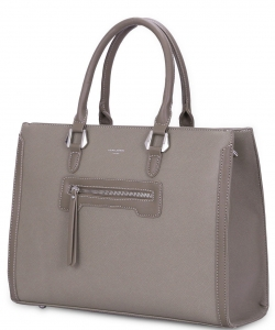 David Jones - Women's Large Shopper Bag - Tote Satchel Briefcase PU Leather CM3902 TAUPE