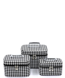 Houndstooth Printed 3-in-1 Cosmetic Case CO405