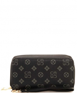 Monogrammed Zip Around Clutch Wallet Wristlet CS028 GRAYBLACK