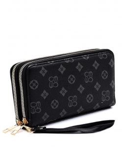 Monogrammed Double Zip Around Clutch Wallet Wristlet CS028G GRAYBLACK
