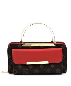 Top Handled Monogram Print Clutch Wallet with Strap CS038 BROWNRED