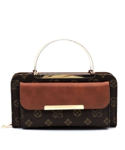 Top Handled Monogram Print Clutch Wallet with Strap CS038 BROWNTAN