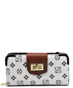 Monogram Print Wallet with Detachable Strap CS041 IVORYTAN