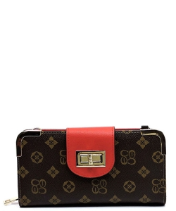 Monogram Print Wallet with Detachable Strap CS041 BROWNRED