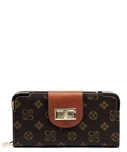 Monogram Print Wallet with Detachable Strap CS041 BROWNTAN