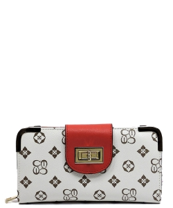 Monogram Print Wallet with Detachable Strap CS041 IVORYRED