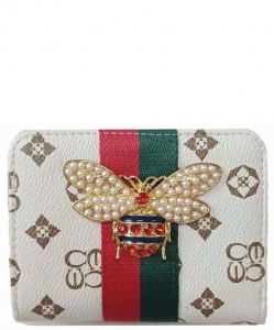 Queen Bee Striped Monogram Wallet CS043B IVORYTAN