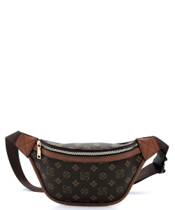Queen Bee Stripe Monogrammed Fanny Pack Waist CS056 BROWN/TAN