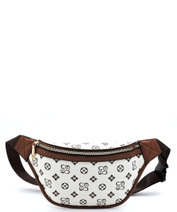 Queen Bee Stripe Monogrammed Fanny Pack Waist CS056 IVORY/TAN