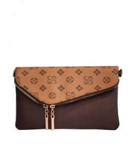 Monogrammed Envelope Clutch CS2585 TAN BROWN