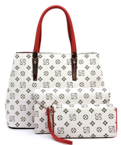 Monogram Print 3in1 Satchel Handbag  CS2678 IVORYRED