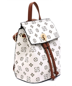Monogrammed Convertible Drawstring Backpack Satchel CS2708 IVORYTAN