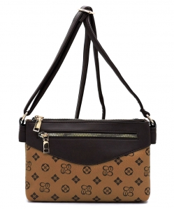 Monogrammed Multi Compartment Crossbody Bag CS2732 TANBROWN