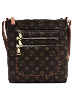 Monogrammed Whipstitch Multi Zip Pocket Crossbody Bag CS2744 BROWNTAN