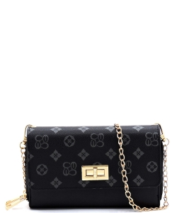Monogrammed Twist Lock Double Zip Around Crossbody Wallet CS2746 BLACK