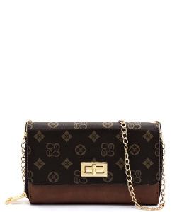Monogrammed Twist Lock Double Zip Around Crossbody Wallet CS2746 BROWN