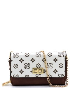 Monogrammed Twist Lock Double Zip Around Crossbody Wallet CS2746 IVORY