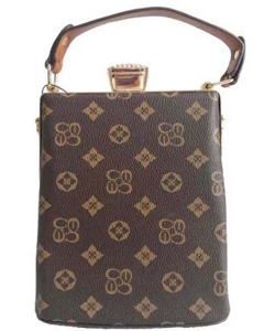 Monogrammed Handbag with Detachable Strap CS2747 BROWNTAN