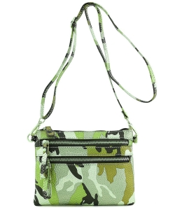 Multi Zipper Pocket Small Wristlet Crossbody Bag CU001 KHAKI