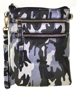 Multi Zipper Pocket Small Wristlet Camouflage Crossbody Bag BLACK