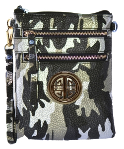 Small Wristlet Camouflage Crossbody Bag with Logo CU002L Black/Gold
