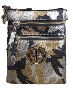 Small Wristlet Camouflage Crossbody Bag with Logo CU002L Brown/Gold