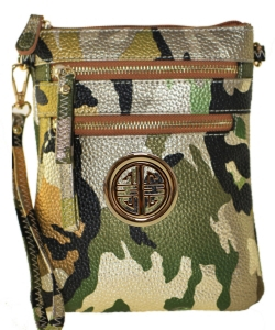 Small Wristlet Camouflage Crossbody Bag with Logo CU002L Khaki