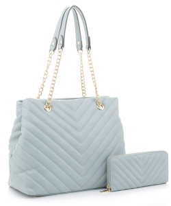 Chevron Quilted Handbag Wallet Set CV20145 BLUE