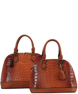 Designer 2 in 1 Croc Handbag Set CY2020 BROWN