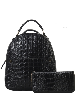 Crocodile Embossed Convertible Backpack Wallet SET MH-CY6795W BLACK